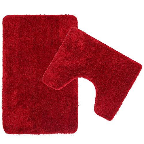 Poligono Juego de alfombrillas de baño de 2 piezas de microfibra, alfombra de 50 x 80 cm, alfombrilla para WC Water Forma rectangular 40 x 50 cm, antideslizante, lavable a máquina, burdeos