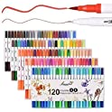 Lemouchet 120 Colors Dual Tip Brush Marker Pens