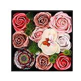 KUNMEI Boîte-Cadeau Rose, Fleur Artificielle De Savon Rose...