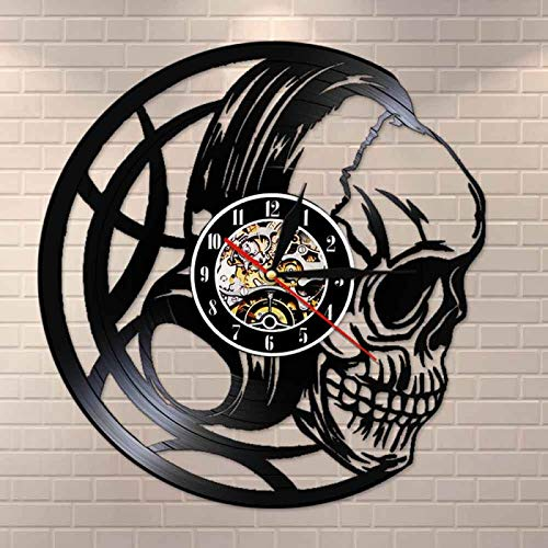 YINU Evil Skull Headphones Reloj de Pared con Registro de Vinilo Reloj con Cabeza de Calavera Negra Reloj Vanitas Dark Art Decor Reloj de Pared de Cuarzo Regalo para Hombres