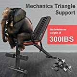 Furiousfitness Adjustable Weight Bench-7 Backrest Positions, Foldable Full Body Fitness Workout Bench with Resistance Band, Weight Lifting & Sit Up Incline Decline Training Exercise Bench for Home Gym