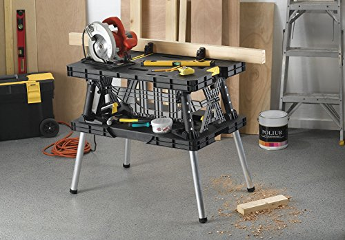 KETER Stand, Woodworking Tools and Accessories with Included 12 Inch Wood Clamps – Easy Garage Storage, Black/Yellow, Weight Capacity: 1000 lbs