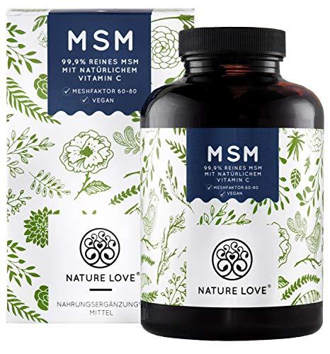 NATURE LOVE MSM - 365 vegane Tabletten (6 Monate) - Extra hochdosiert: 2000mg MSM (Tagesdosis) -...