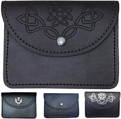 Scottish Celtic Embossed Black Leather Belt Pouch Sporran Bag Piper Drummer product image