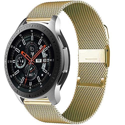 KTZAJO 2021 La última pulsera milanesa GT 2-2e-Pro de 20 mm/2 mm, compatible con Galaxy Watch 3 45 mm/46 mm/42 mm/Active 2 4 mm 40 mm Banda (color: dorado, tamaño: 20 mm Amazfit bip)