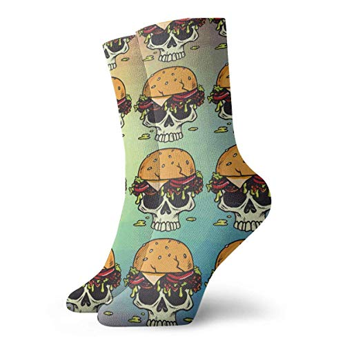 huatongxin Crew Calcetines,Compression Calcetines,Casual Calcetines,Athletic/Sport Calcetín,Skull Burger Hamburger Fries Printed Moisture Control Running Calcetines Durable Breathable Training Calc