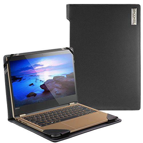 Navitech Broonel London - Profile Series - Black Real Leather Laptop Case Cover Sleeve Compatible with The Lenovo Yoga 720 (13