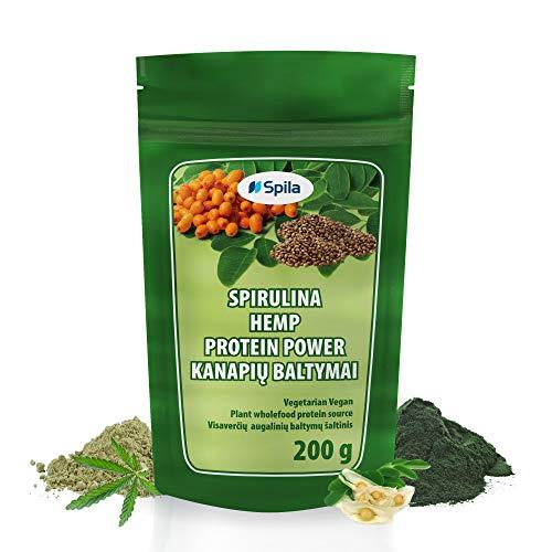 Organic spirulina with Hemp Protein, sea Buckthorn & Moringa - Quality Powder Mix for Vegan Vitamin & superfood Smoothies