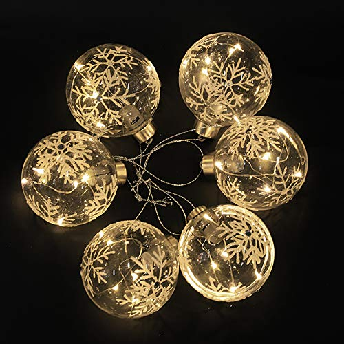 6 x Christmas Tree Baubles Balls Hanging Glass Baubles with Warm White LED Lights for Xmas Tree Holiday Party Festival Decoration (80mm)