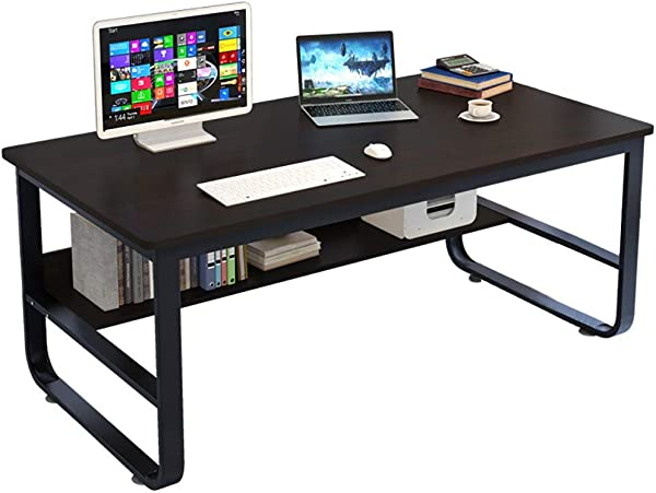 Bokeley Computer Writing Desk Modern Simple Style Economic Study Game Rectangular Table Workstation For Home Office Black