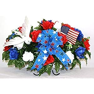 XL Patriotic, Memorial, Veterans Artificial Silk Flower Cemetery Tombstone Grave Saddle