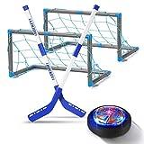 Geyueya Home Air Power Hockey Set con puertas, Hover Hockey Balón de Hockey Infantil, Balón de Hockey Recargable con LED Luz, Juegos de Hockey Regalo de Cumpleaños para Niños Niñas Juegos Interior