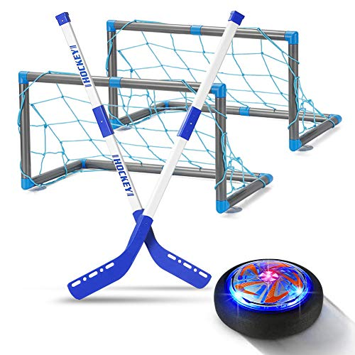 GEYUEYA Home Air Power Hockey Set mit Toren, USB Wiederaufladbar Hover Power Ball Indoor Hockey Kinderspielzeug mit Bunt LED Beleuchtung für Kinder Innen & Außen Geschenk