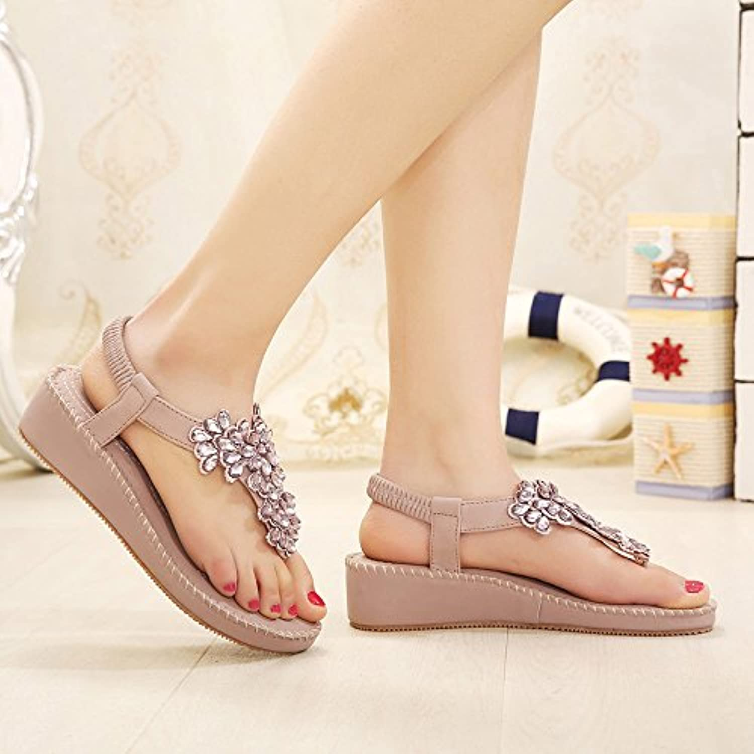 WHW The girl sandal water clamp drill-slope with non-slip beach shoes