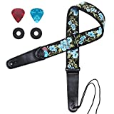 Guitar Strap, IHOBOR Jacquard Spring Blue Flowers Guitar Strap with Genuine Leather End, Acoustic Electric Bass Guitar Strap Included Strap Locks & Picks