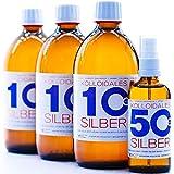 1600ml Plata coloidal PureSilverH2O / 3 x Botellas (cada 500ml/10ppm) Plata coloidal + spray (100ml/50ppm) - 99,99% de plata pura - la mejor calidad - Made in Germany