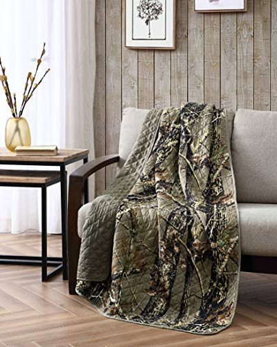 Chezmoi Collection Salem 1-Piece Forest Woods Nature Camo Tree Leaves Printed Soft Microfiber Throw Blanket, Natural