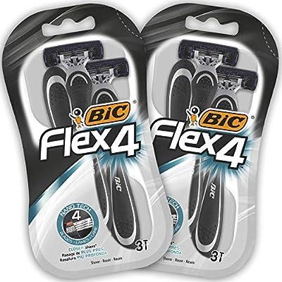 BIC Flex4 Men's Disposable Razors - Bundle of 2 Packs of 3