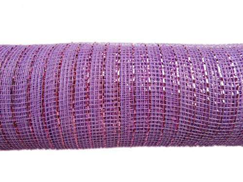 XiXiboutique 10 inch Metallic Deco Poly Mesh Ribbon 30 feet(10 Yards),Lavender