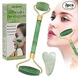 Jade roller Massager,Gua Sha Scraping,giada naturale del viso e collo del Massager...