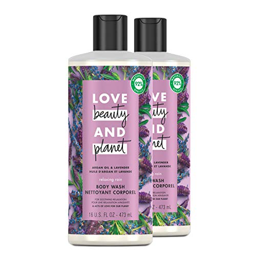 Love Beauty and Planet Relaxing Rain Body Wash Enjoy Soft, Smooth Skin with a Soothing-Relaxed Feel Argan Oil and Lavender Paraben Free and Vegan Body Wash 16 oz 2 Count