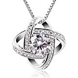 B.Catcher Women Necklaces Sterling Silver Cubic Zirconia Pendant Gemini Necklace