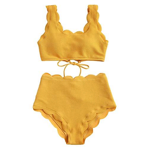 ZAFUL Women's Scalloped Textured Swimwear High Waisted Wide Strap Adjustable Back Lace-up Bikini Set Swimsuit (S, Golden Brown)