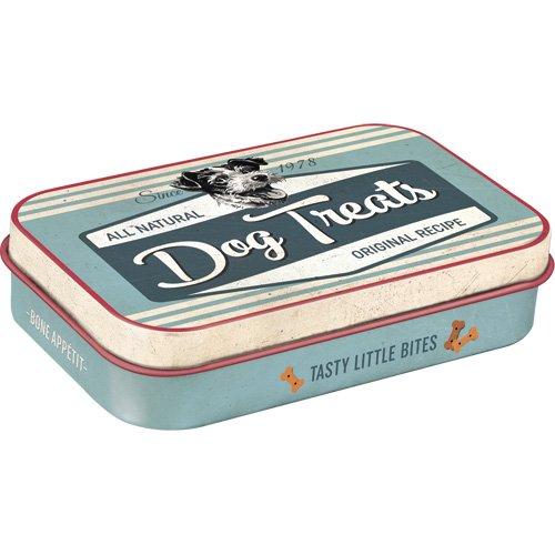 Nostalgic-Art Caja de Lata Retro con diseño de Huellas de Perro, Idea de Regalo para dueños de Perros, Caja de hojalata para Viajes, diseño Vintage, 9,5 x 6 x 2 cm