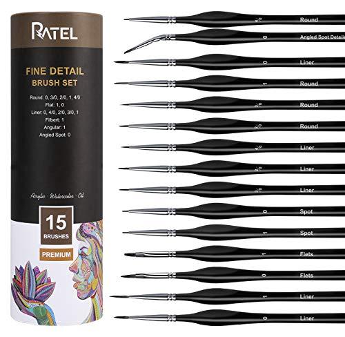 Pinselset Malen 15 Stück, RATEL Feiner Detail Pinsel Set für Acryl, Aquarell, Modell, Miniatur Nagelkunst - Pinselset Acrylfarben, Detailmalereien, Gesichtsbemalung Malpinsel
