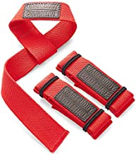 WARM BODY COLD MIND Lifting Wrist Straps for Olympic Weightlifting, Powerlifting, Bodybuilding, Functional Strength Training - Heavy-Duty Cotton Wrist Wraps, Pair (Red Lasso)