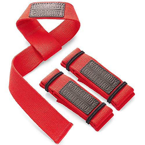 WARM BODY COLD MIND Lifting Wrist Straps for Olympic Weightlifting, Powerlifting, Bodybuilding, Functional Strength Training - Heavy-Duty Cotton Wrist Wraps, Pair (Red Basic)