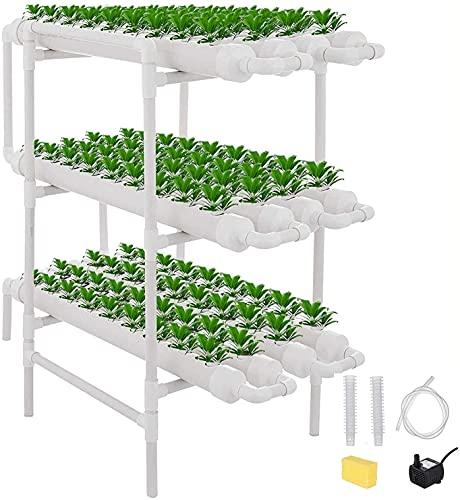 Kacsoo Kit di Coltivazione idroponica 108 siti di Piante Sistema di Piante da Giardino per Coltura d'Acqua in PVC ed esperimento idroponico, Verdure, Fiori, Frutta (108 siti, 12 Tubi, 3 Strati)