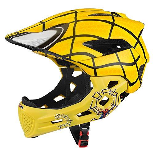 HNLong Kinder Multifunktionssport Vollhelm Fahrrad Rollschuh Helm Balance Bike Roller Skate Tier Helm abnehmbare-Yellow_XS