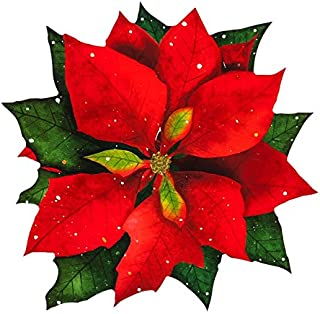 Cypress Home Vinyl Coated Solid Poinsettia Placemat, Set of 4