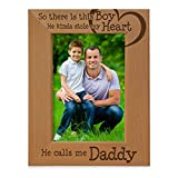 KATE POSH - So There is This boy He Kinda Stole My Heart. He Calls me Daddy. Engraved Natural Wood Picture Frame, Birthday, Best Dad Ever, New Dad Gifts (5x7-Vertical)