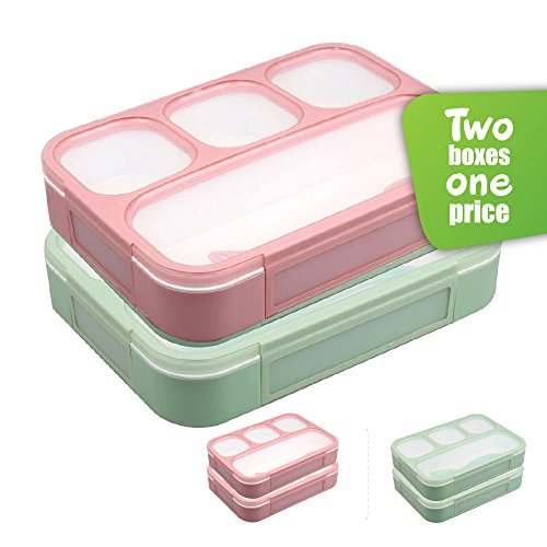 Leakproof Bento Lunchboxes, Lunch Containers 4 Compartments (2-Pack), no smells, food prep,...