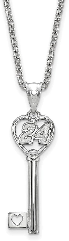 STERLING SILVER LogoArt Official Licensed NASCAR HEART KEY 1 SMALL W  DRIVER 24JEFF GORDON W 18SILVER CHAIN