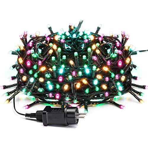 Avoalre Luz Navidad 20M 200 LED Guirnalda Luces Cadena de Luz con 8 Modos 4 Colores Guirnalda Decoracion Impermeables para Exterior, Interior, Fiesta, Boda, Jardín, Casa, Rosa/Amarillo/Azul/Verde