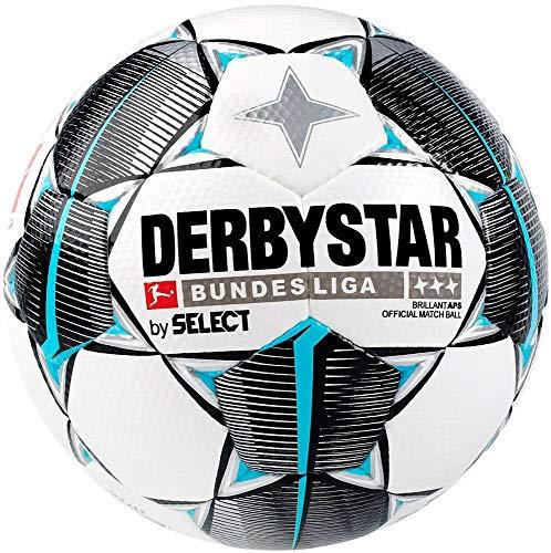DERBYSTAR Balón de fútbol de la Bundesliga Brillant APS, Unisex, para Adultos, Color Blanco, Negro y Azul petróleo, 180 cm