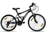 Bicicleta de montaña de 24 pulgadas con suspensión completa AcTIMOVER 18 V Shimano – Manillas GripshIFT Shimano – Potencia Headset
