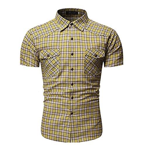 SSBZYES Herrenhemd Sommer Herren Kurzarmhemd Europäische Größe Herren Kariertes Hemd Casual Style Großes Kurzarmhemd mit Taschen auf beiden Seiten