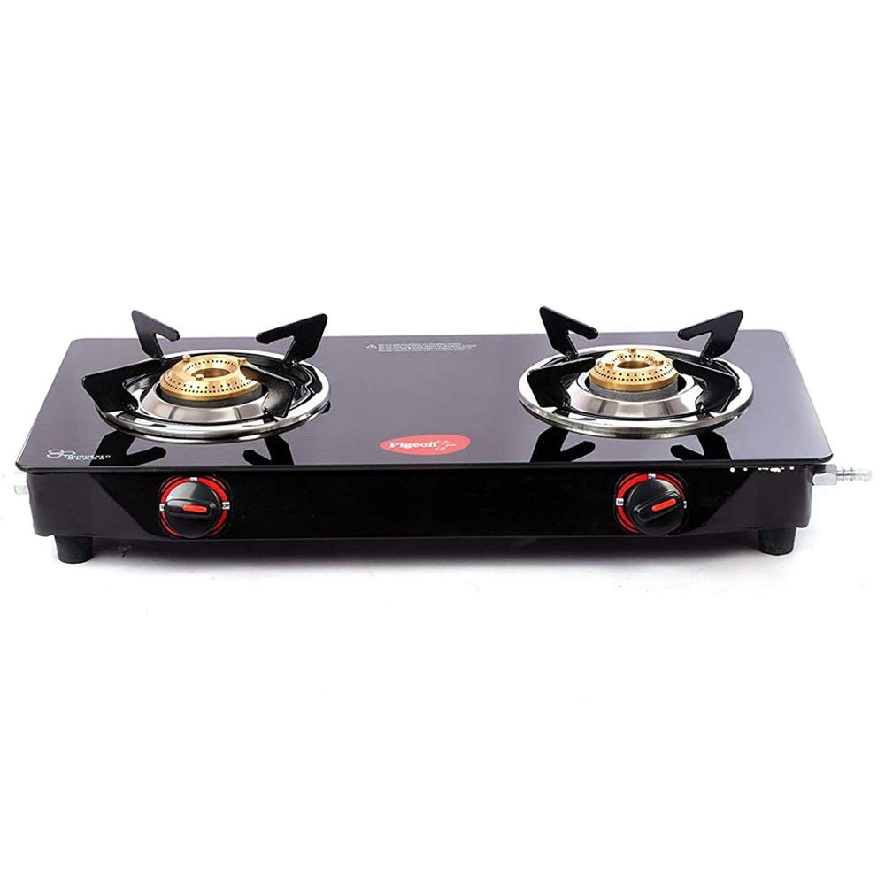 Pigeon by Stoverkraft Stainless Steel Aster 2 Burner Glass Cook Top Gas Stove (Black), Manual