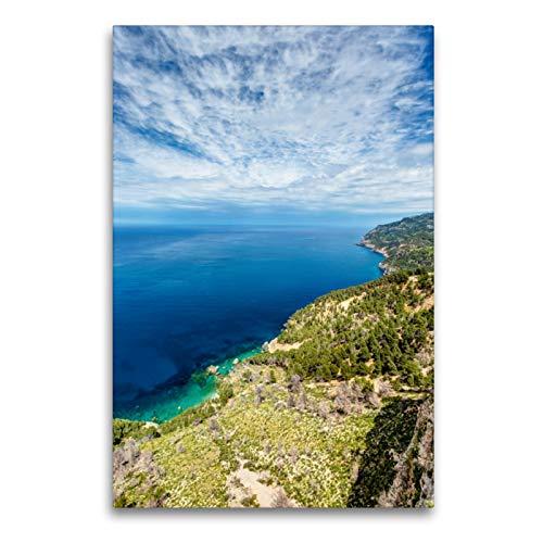 Premium Textil-Leinwand 60 x 90 cm Hoch-Format Mallorca Blick Es Grau - Westküste | Wandbild, HD-Bild auf Keilrahmen, Fertigbild auf hochwertigem Vlies, Leinwanddruck von Jürgen Seibertz