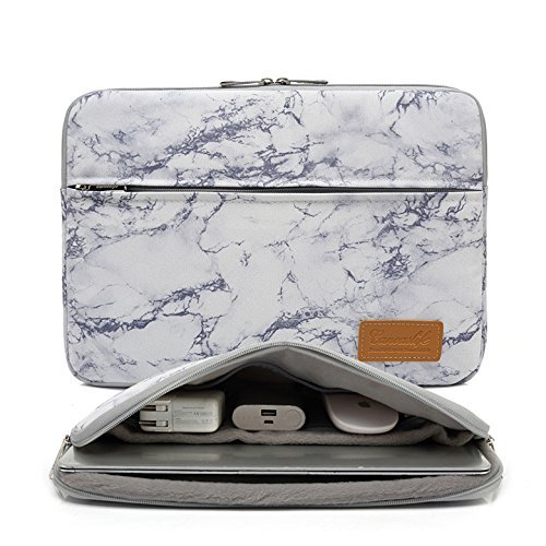 Canvaslife Marble Pattern 360 Degree Protective 14 inch Waterproof Laptop Sleeve case Bag with Pocket for 14 inch 14.0 inch Laptop