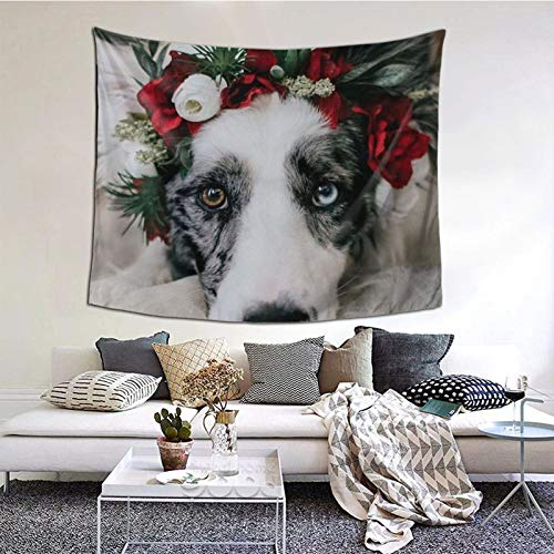 Tapestry Wall Hanging Dog With Garland Durable Mural Tapestries For Bedroom Room Dorm Wall Decor 60x51 In