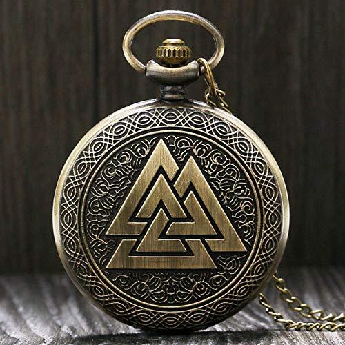 NOBRAND Pocket horloge, vintage brons heren mode Pocket horloge dubbele Eagle ketting kwarts kwarts klok mannen