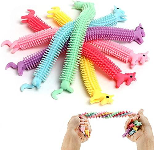 TIANLE Juguetes sensoriales, Unicornio, Cadena elástica para aliviar el estrés, Paquete de 6 Fideos Coloridos para la ansiedad, Fideos para niños y Adultos