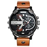 CAGARNY Original Men's Sports Leather Strap 2 dials can Work Quartz Date Watch 6820 Black Brown