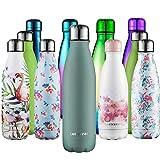 cmxing Doppelwandige Thermosflasche 500 mL / 750 mL mit Tasche BPA-Frei Edelstahl Trinkflasche Vakuum Isolierflasche (See grün, 500 mL)