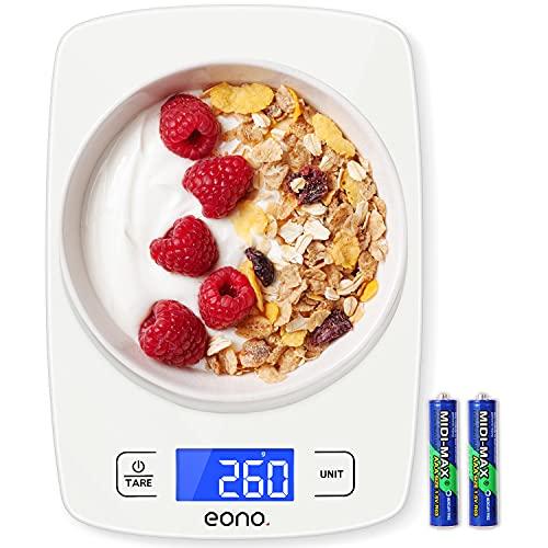 Amazon Brand - Eono Balanza digital de cocina, ideal para cocinar, preparar repostería, dietas, graduación de precisión de 1 g, capacidad máxima 10 kg (22 lb), Vidrio templado - Blanco